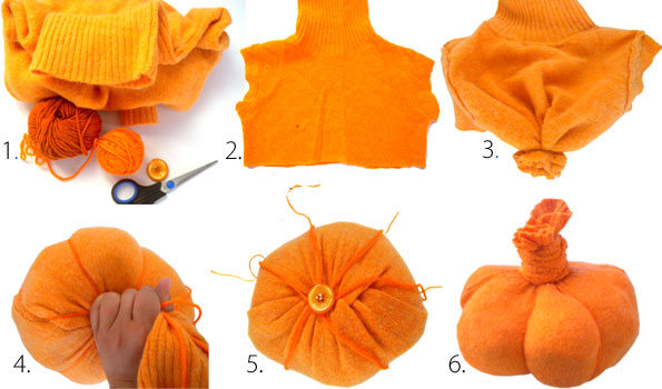 diy halloween pumpkin craft projects old orange sweater tutorial