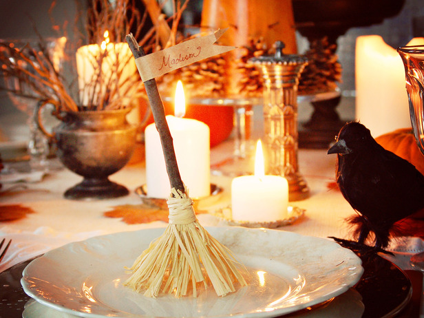 Diy Halloween Table Setting Decor Broomstick Place Card