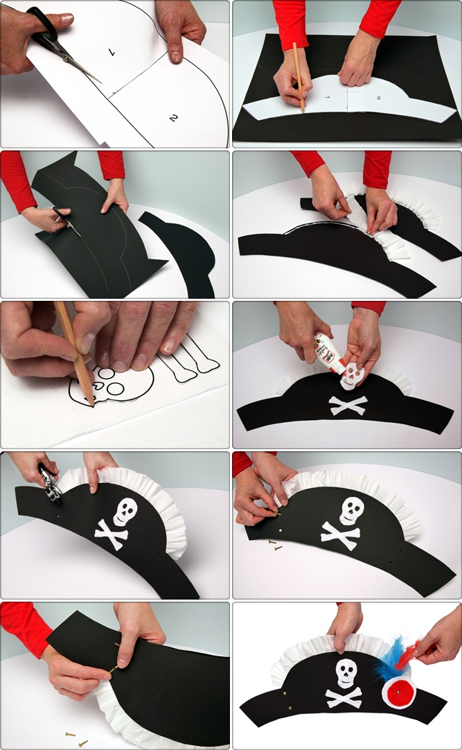 diy pirate hat crafts kids halloween costume tutorial paper