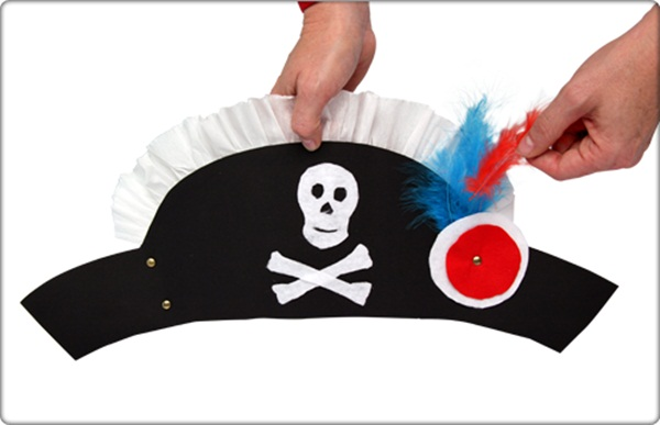 diy pirate hat paper Halloween hat crafts for kids costume
