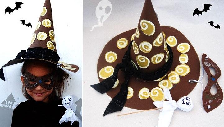 Как сделать из бумаги шляпу ведьмы на хэллоуин8