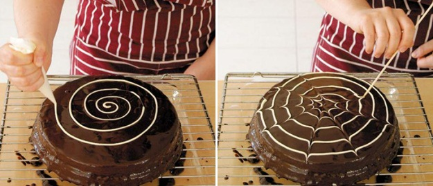 Easy Fall Cake Recipes Cure Glaze Black White Chocolate Spider Web