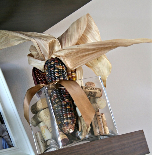 Fall Decorating Ideas Indian Corn Wine Corks Square Glass Vase