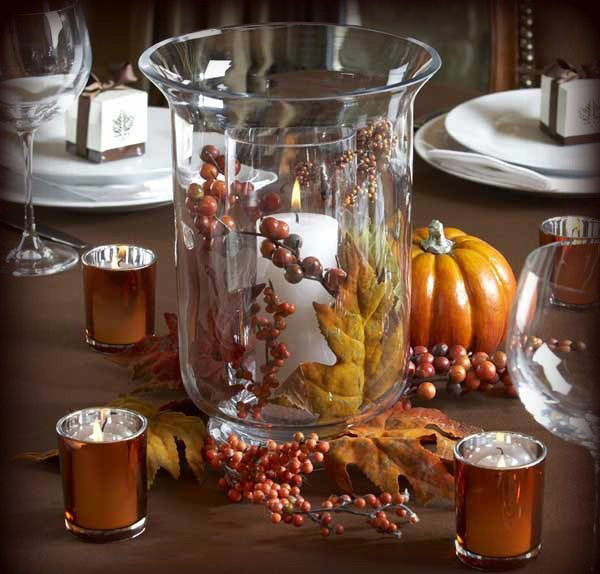 40 nature inspired fall decorating ideas and easy diy decor for Fall candle centerpiece ideas
