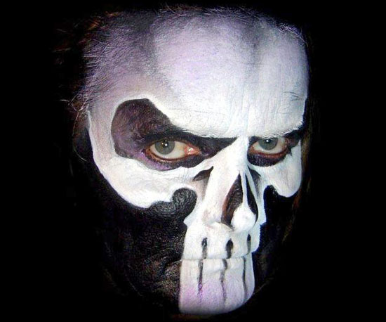 halloween face paint men scary skull black white