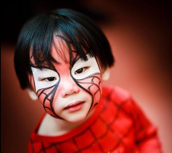 halloween kids costume makeup spiderman boys