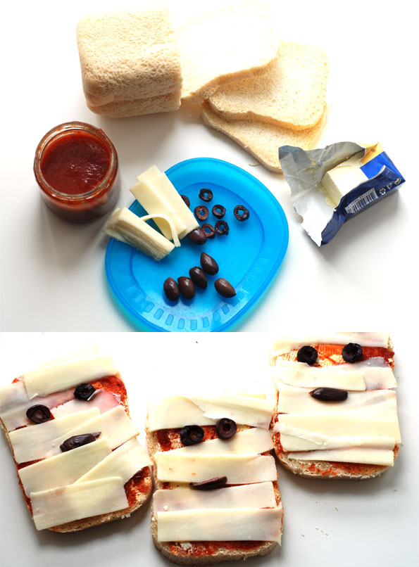halloween kids food sandwiches cheese tomato sauce mini pizza mummies