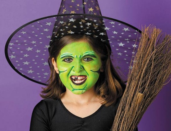 halloween kids green face makeup witch broom