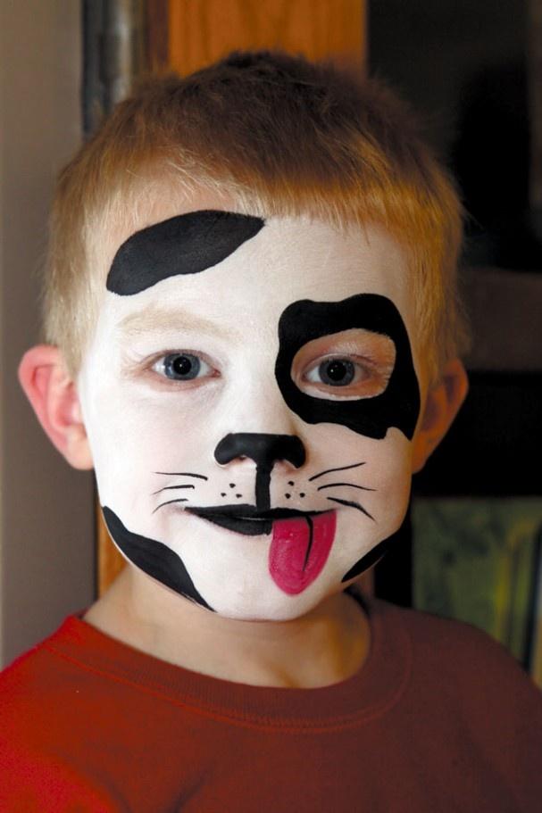 halloween makeup boys kid cute black white puppy