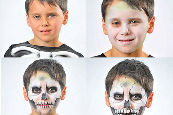 halloween ideas kids boy skull black white steps