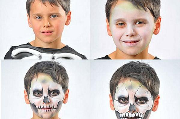 halloween ideas kids boy skull black white steps