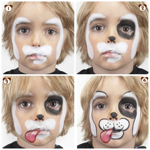 halloween makeup ideas kids boy white puppy step by step