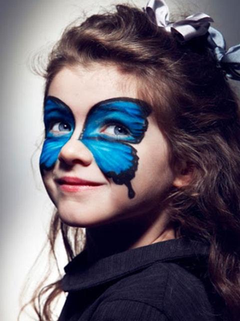 halloween makeup ideas kids girl blue butterfly