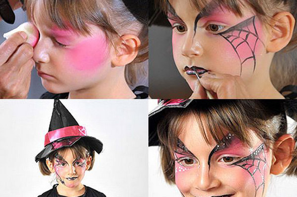 halloween makeup ideas kids girl pink spider web witch