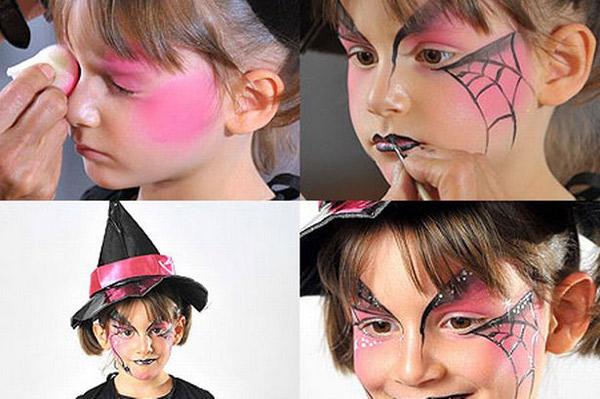 halloween makeup ideas kids girl pink spider web witch