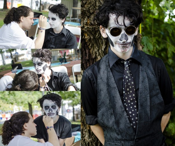 halloween makeup ideas men skull black white paint