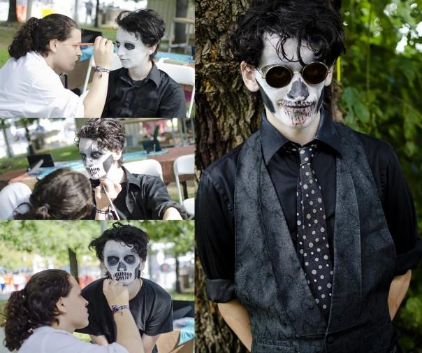 halloween makeup ideas men skull black white paint