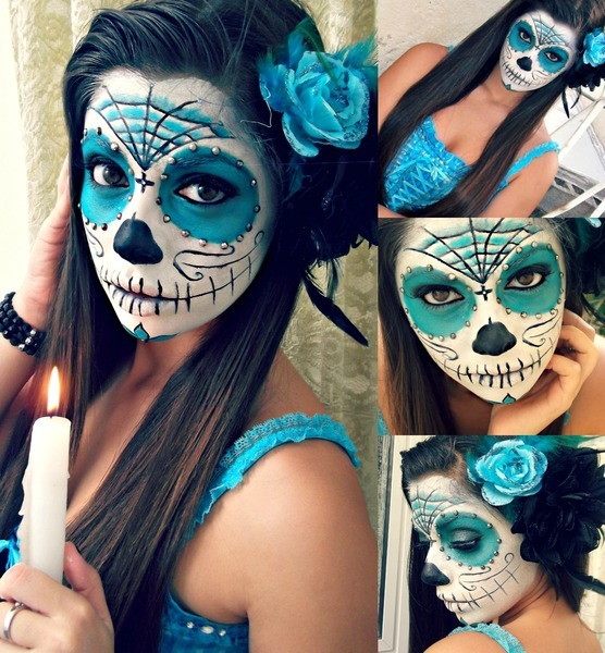 halloween makeup ideas pretty skullcandy blue rose