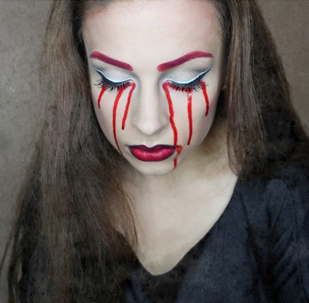 scary halloween makeup women bloody tears