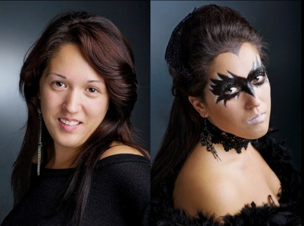 halloween makeup idea women paint black mask crow
