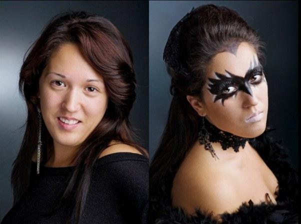 halloween makeup idea women paint black mask crow