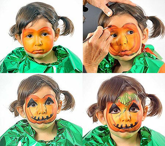 halloween makeup kids girl cute little pimpkin costume