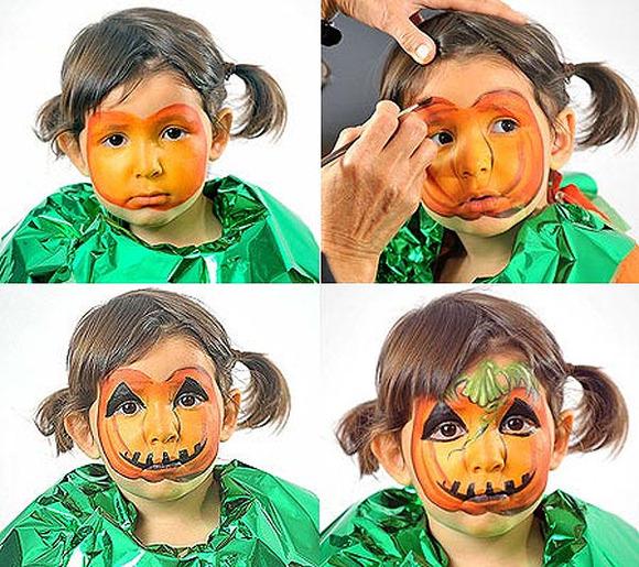 halloween makeup kids girl cute little pimpkin costume