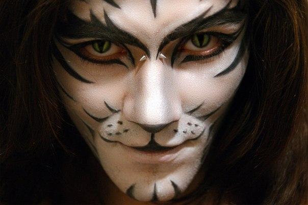 halloween makeup men white tiger face  paint