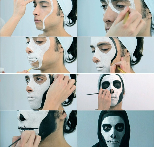 halloween makeup tutorial men skull face step by step