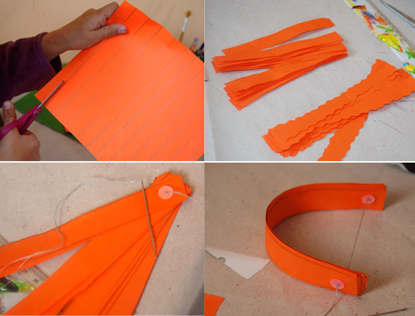 halloween pumpkin paper diy tutorial orange stripes