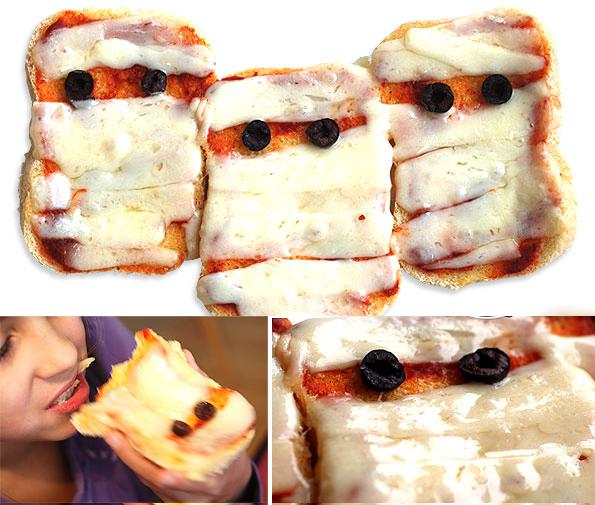 halloween sandwiches ideas kids party mini pizzas mummies
