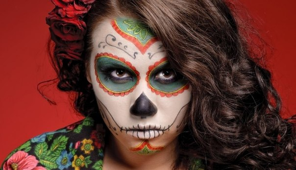 halloween  sugar skull women green red rose painting