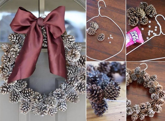 handmade-christmas-wreath-pinecones-ribbon