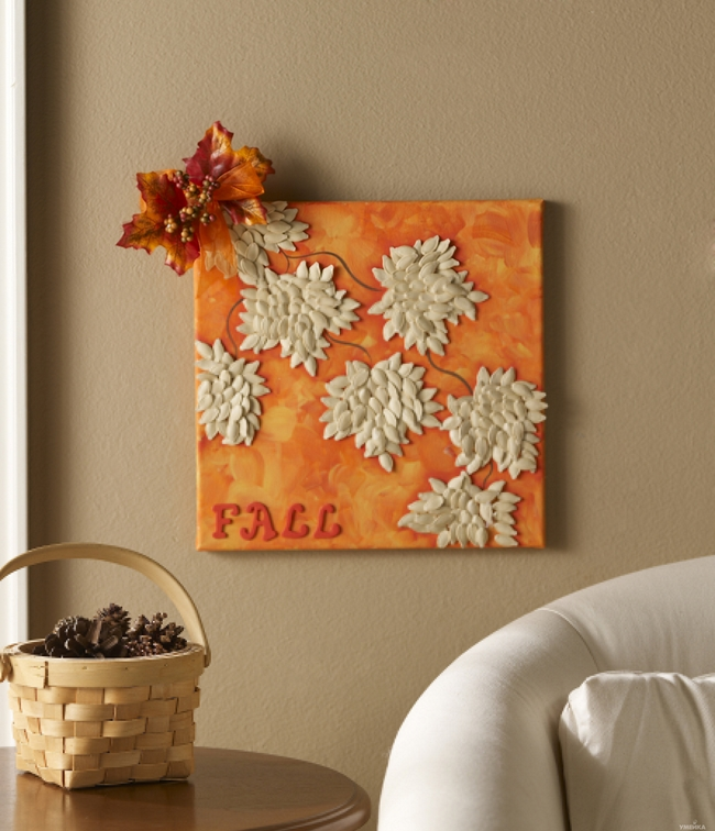 Painting for fall maple leaves made with pumpkin seeds Fall home decorating ideas diy