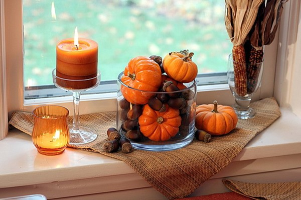 Decorating window sills for fall pumpkins ahorns candles Fall home decorating ideas diy