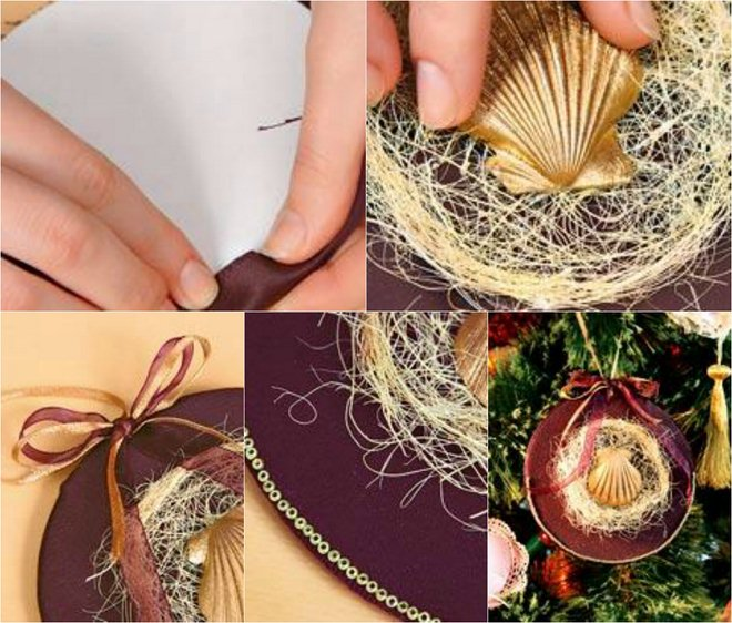 homemade-christmas-tree-ornaments-ideas-brown-fabric-cardboard-gold-painted-seashell