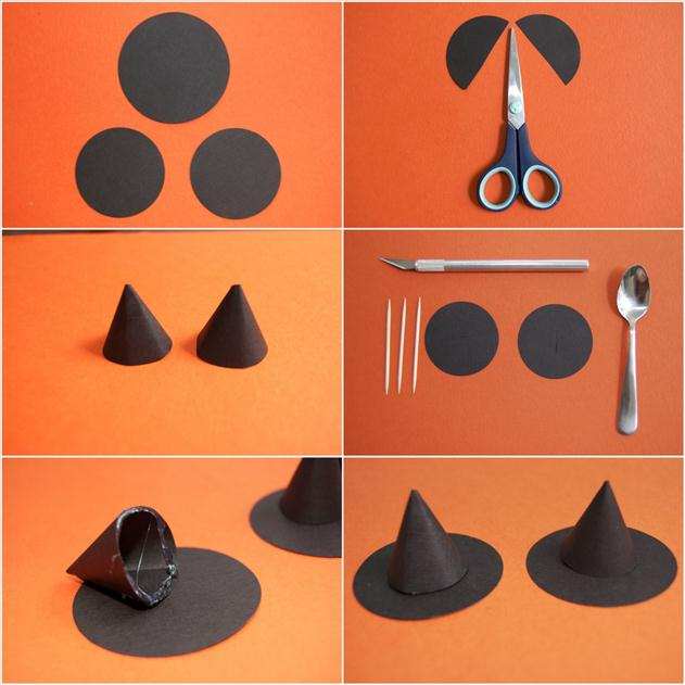 how to make mini witch hats paper toothpicks halloween decor