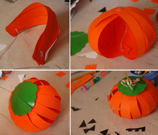 how to make paper pumpkins halloween kids tutorial