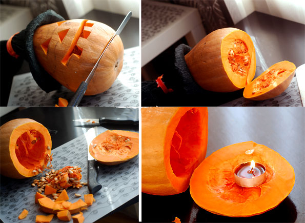 making pumpkin candle holder carving face diy
