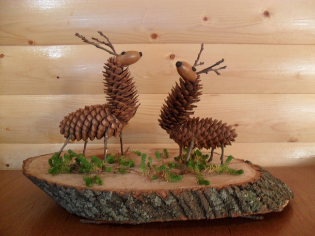 Two Deers Made Of Fir Cones And Ahorns