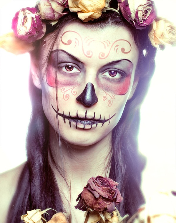 Pretty Sugar Skull Face Version Roses Pink Yellow