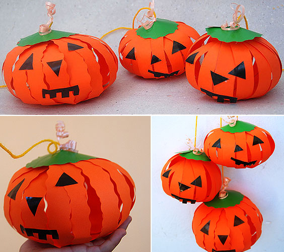 pumpkin paper craft tutorial halloween decor kids