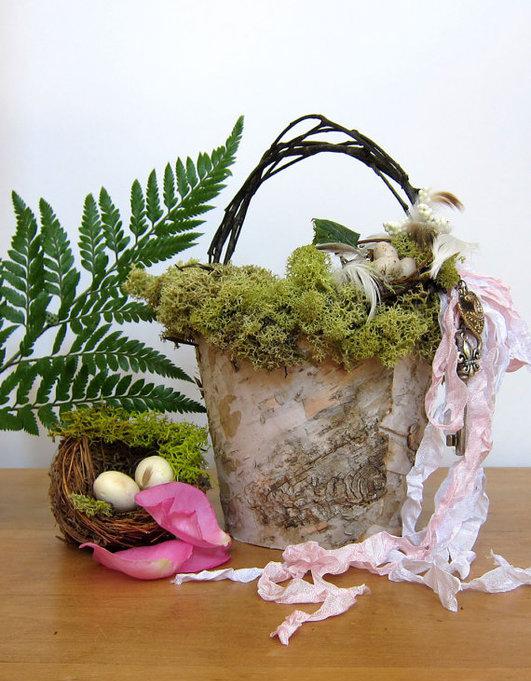 rustic basket birch bark crafts idea