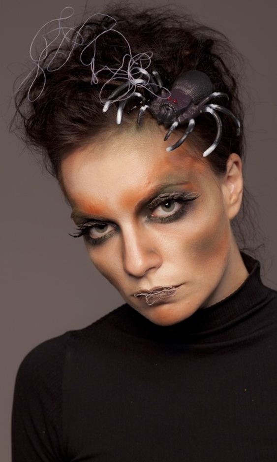 scary halloween makeup women spider hair spider web