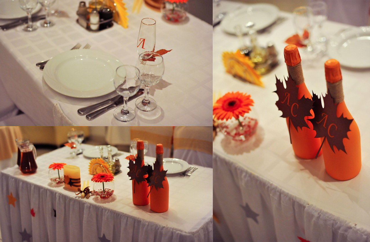 table-decorating-for-fall-ideas-orange-gerbera-maple-leaves-bottles