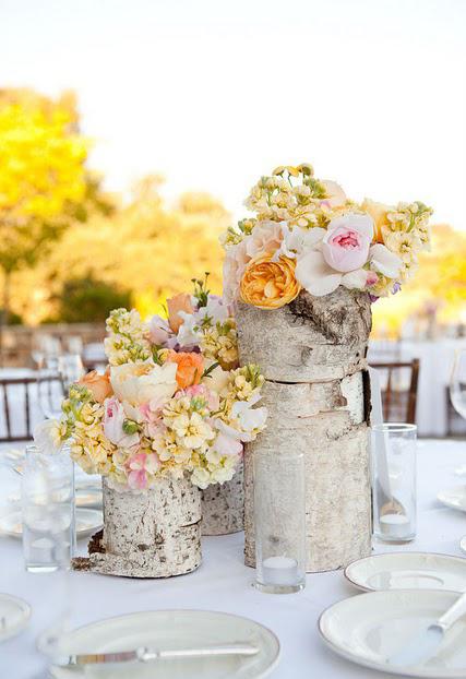 yellow roses birch tree decor idea garden table