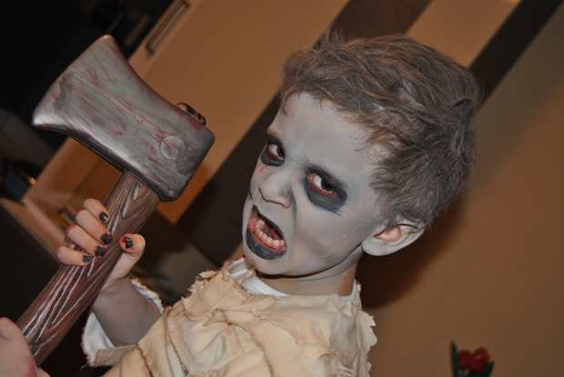zombie kids makeup axe nails completed costume