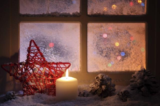 Christmas window decoration candle lighted window faux snow