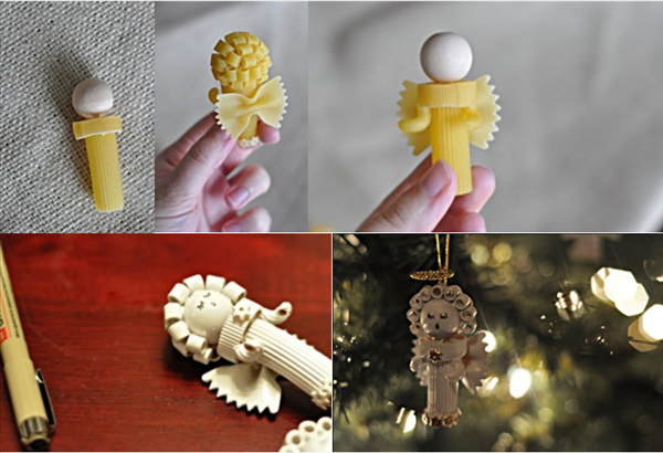 Christmas crafts for kids - Making Christmas tree ornaments with pasta