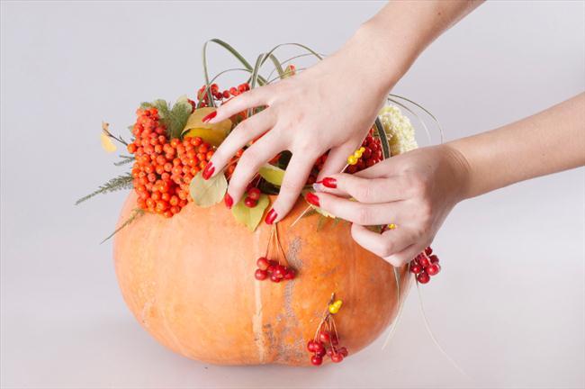 flower pumpkin centerpieces tutorial diy idea berries pins
